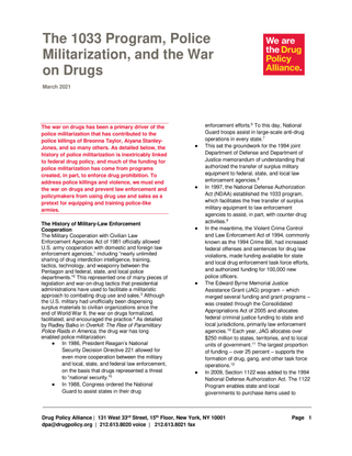 The 1033 Program, Police Militarization, and the War on Drugs, March 2021 [dpa-1033-program-police-militarization-war-on-drugs.pdf]