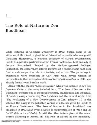 DT Suzuki - The Role of Nature in Zen Buddhism