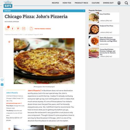 Chicago Pizza: John's Pizzeria