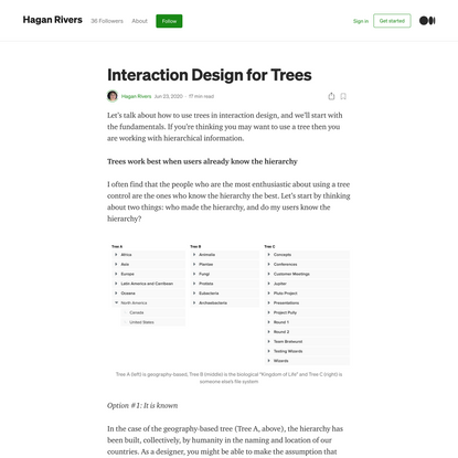 Interaction Design for Trees