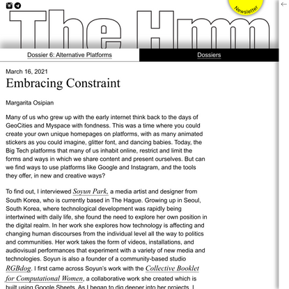 Embracing Constraint - The Hmm