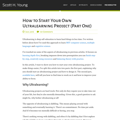 How to Start Your Own Ultralearning Project (Part One)