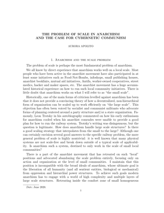 The problem of scale in anarchism and the caes for cybernetic communism