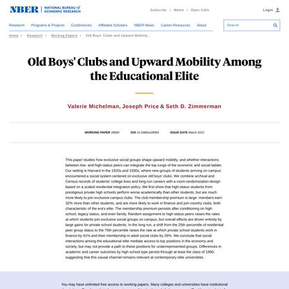 Old Boys' Clubs and Upward Mobility Among the Educational Elite