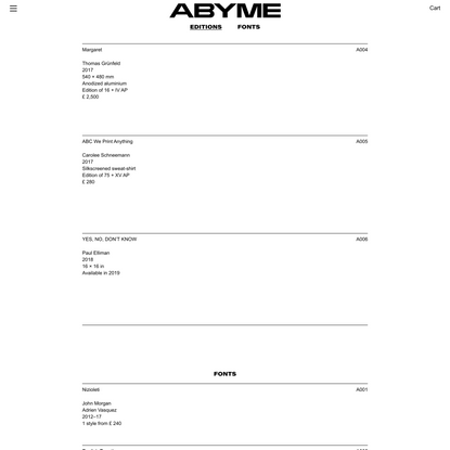 Catalogue – ABYME