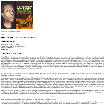 """Frantz Fanon, """"Concerning Violence,"""" From THE WRETCHED OF THE EARTH"""