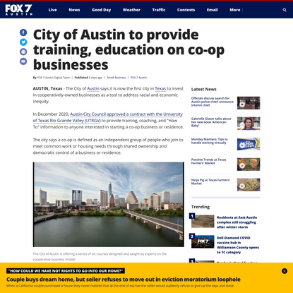City of Austin to provide training, education on co-op businesses