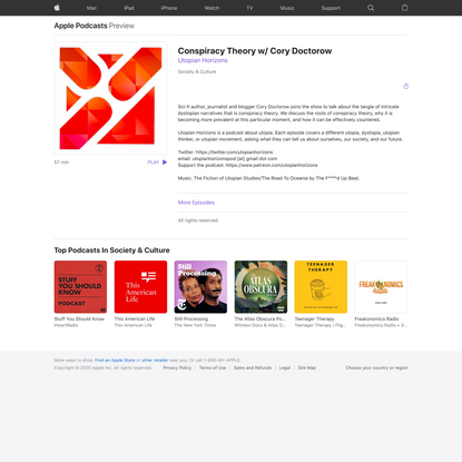 Utopian Horizons: Conspiracy Theory w/ Cory Doctorow on Apple Podcasts