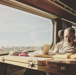 "Rabih Alameddine: ""Reading on trains (Stockholm to Copenhagen last week)"""