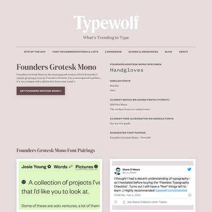 Founders Grotesk Mono Font Combinations & Free Alternatives · Typewolf