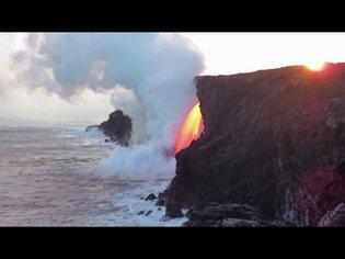 Kilauea Volcano lava stream at the Kamokuna ocean entry