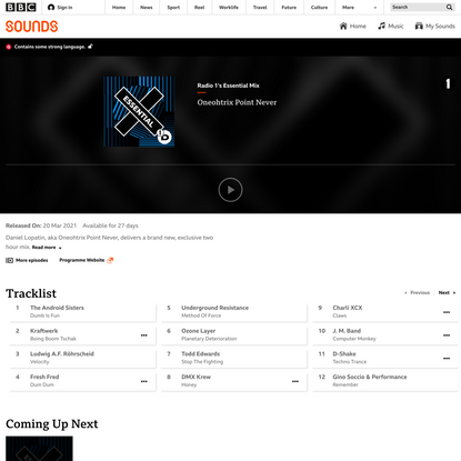 Radio 1's Essential Mix - Oneohtrix Point Never - BBC Sounds
