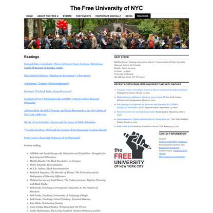 Readings - The Free University of NYC