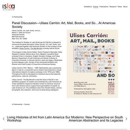 Panel Discussion—Ulises Carrión: Art, Mail, Books, and So…At Americas Society