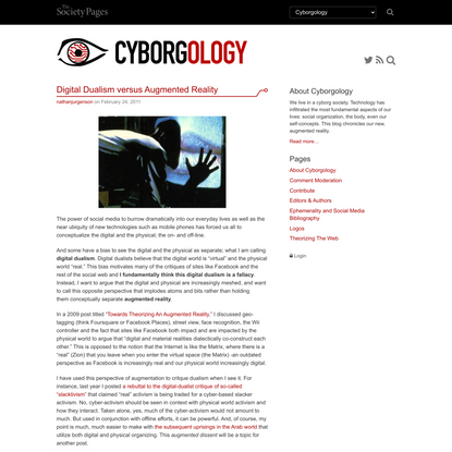 Digital Dualism versus Augmented Reality - Cyborgology