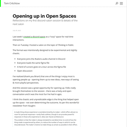 Opening up in Open Spaces
