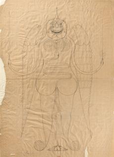 Friedrich Schröder-Sonnenstern (1892 - 1982) ~ Pocholinchen, the unknown angel of peace, Pencil on paper, 1954.