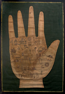 symbols corresponding to energy flows, ink on canvas, Tibet 19th Century