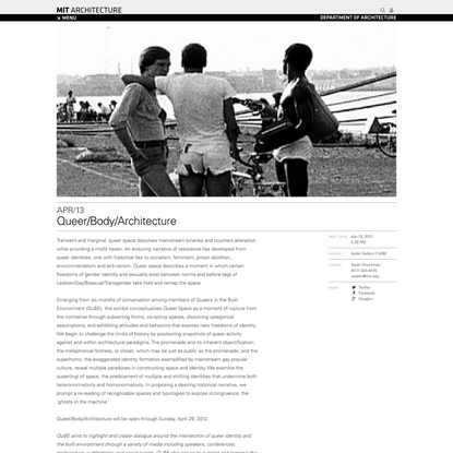 Queer/Body/Architecture   MIT Architecture