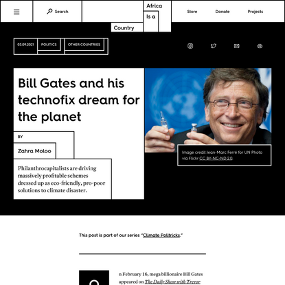 Bill Gates and his technofix dream for the planet