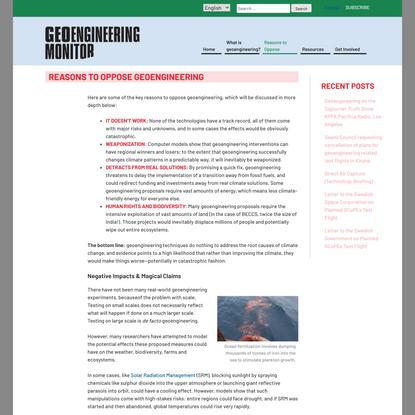Reasons to Oppose Geoengineering