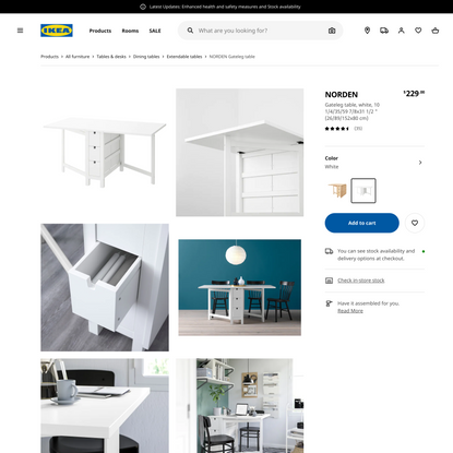 NORDEN Gateleg table, white, 101/4/35/597/8x311/2″ (26/89/152x80 cm) - IKEA