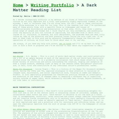 A Dark Matter Reading List - Emilie M. Reed
