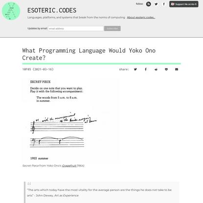 What Programming Language Would Yoko Ono Create?