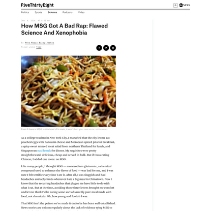 How MSG Got A Bad Rap: Flawed Science And Xenophobia   FiveThirtyEight