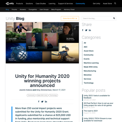 Unity for Humanity 2020 winning projects announced - Unity Technologies Blog