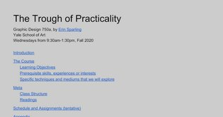 Yale - The Trough of Practicality, 750a - 2020 Fall