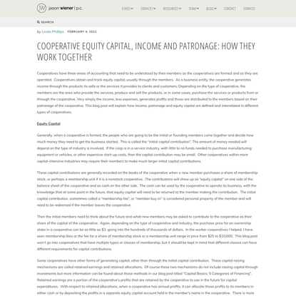 Cooperative Equity Capital, Income and Patronage: How They Work Together - jason wiener | p.c.