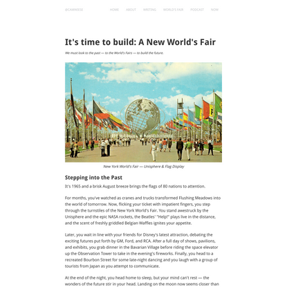 It's time to build: A New World's Fair