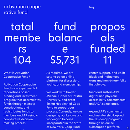 activation cooperative fund — Activation Residency