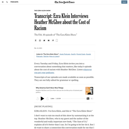 Transcript: Ezra Klein Interviews Heather McGhee about the Cost of Racism