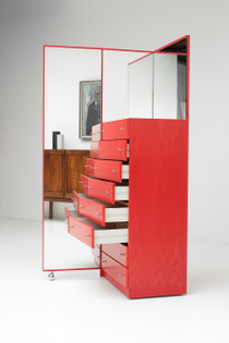 Red Commode Dresser/Mirror (designed by City Furniture)