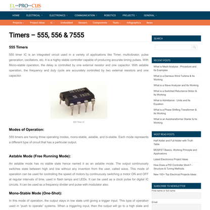 555 Timers | 556 Timers | 7555 Timers Basics, Features and Application