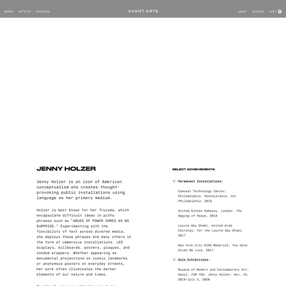 Jenny Holzer - Avant Arte