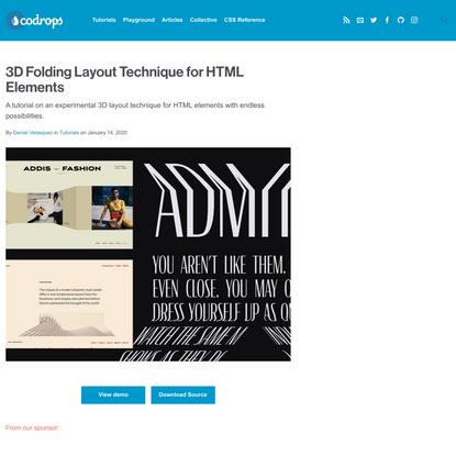 3D Folding Layout Technique for HTML Elements | Codrops