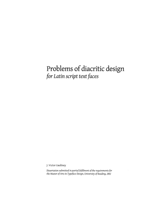 Problems of diacritic design — Gaultney