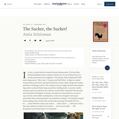 Amia Srinivasan · The Sucker, the Sucker! What's it like to be an octopus? · LRB 6 September 2017