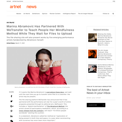 Marina Abramović Has Partnered With WeTransfer to Teach People Her Mindfulness Method While They Wait for Files to Upload