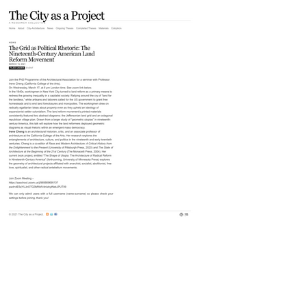 The City as a Project   The Grid as Political Rhetoric: The Nineteenth-Century American Land Reform Movement