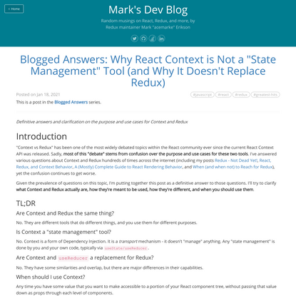 """Blogged Answers: Why React Context is Not a """"State Management"""" Tool (and Why It Doesn't Replace Redux)"""