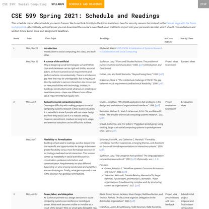 Schedule - CSE 599