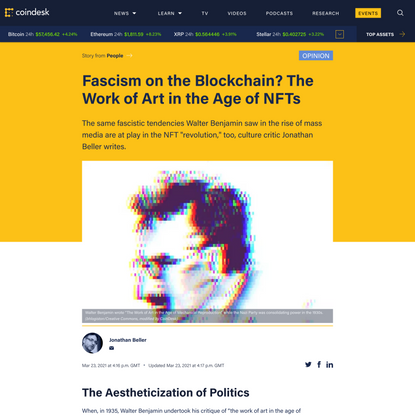 Jonathan Beller: NFT Does Not Stand for Non-Fascist Token, but It Should - CoinDesk