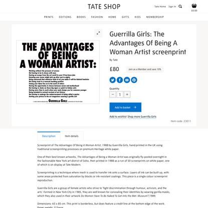 Guerrilla Girls: The Advantages Of Being A Woman Artist | Screenprints | Tate Shop | Tate