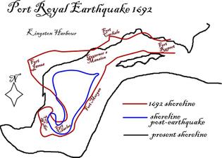 Port Royal shoreline pre- and post- earthquake
