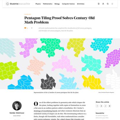 Pentagon Tiling Proof Solves Century-Old Math Problem   Quanta Magazine
