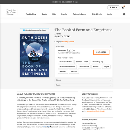 The Book of Form and Emptiness by Ruth Ozeki: 9780399563645 | PenguinRandomHouse.com: Books